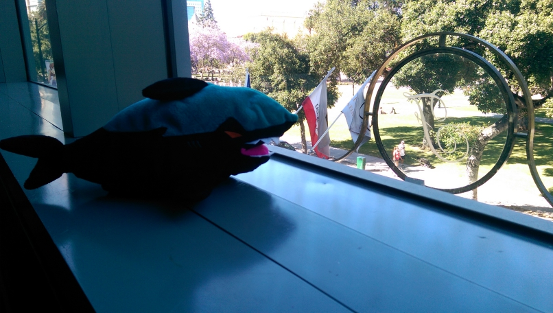 San Jose Sharks plush looking out a window during Fanime 2014